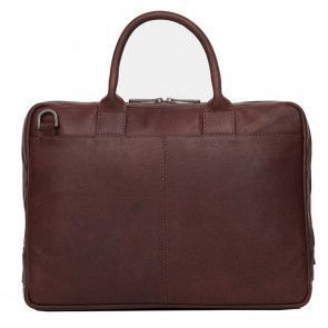 Knomo Foster Leather Laptop Briefcase Brown 14 inch Achterkant