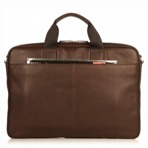 Knomo Durham Full Leather Brief Brown 15 inch Achterkant
