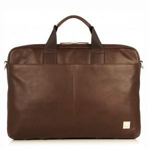 Knomo Durham Full Leather Brief Brown 15 inch Voorkant