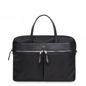 Knomo Hanover Slim Briefcase Black 14 inch Voorkant