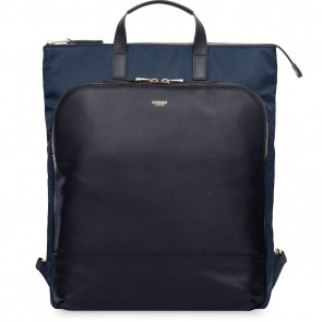 Knomo Harewood Leather Backpack Navy 15 inch Voorkant
