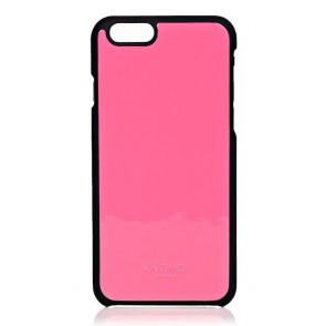 Knomo iPhone 6 Leather Snap On Case Fluro Pink Achterkant