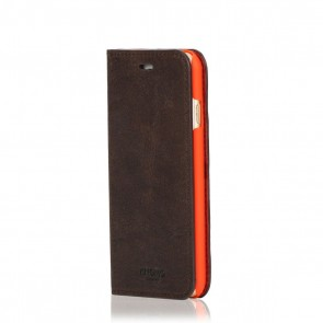 Knomo iPhone 6/6S Leather Premium Folio Brown Voorkant