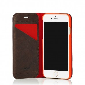Knomo iPhone 6/6S Leather Premium Folio Brown Open