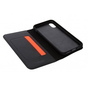 Knomo iPhone X Hoesje Leather Black Open