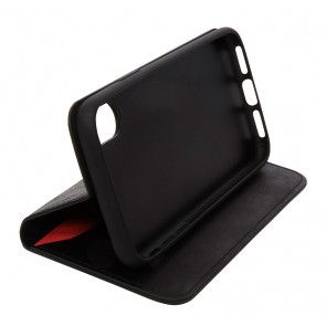 Knomo iPhone X Leather Premium Folio Black Kijkstand