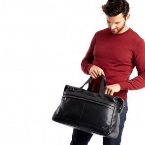 Knomo Leren Weekendtas 15.6 inch Milton Zwart Model