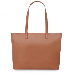 Laptoptas Knomo Maddox Leather Zip Tote Caramel 15 inch Achterkant