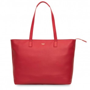 Knomo Maddox Leather Zip Tote Chilli 15 inch Voorkant