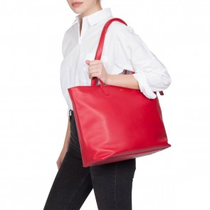 Knomo Maddox Leather Zip Tote Chilli 15 inch Model