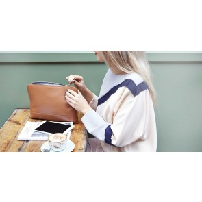 Knomo Molton Leather Cross Body Clutch Caramel Lifestyle