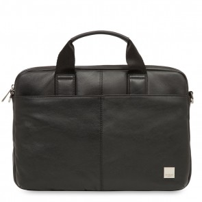 Knomo Stanford Small Leather Briefcase Black 13 inch Voorkant