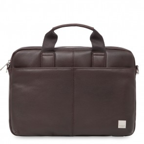 Knomo Stanford Small Leather Briefcase Brown 13 inch Voorkant