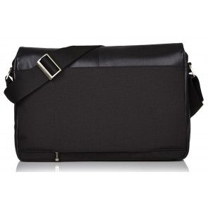 Laptoptas Knomo Kobe Soft Leather Messenger Black 15 inch Achterkant