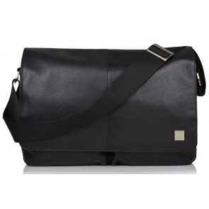 Laptoptas Knomo Kobe Soft Leather Messenger Black 15 inch Voorkant