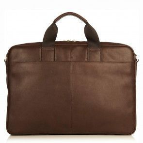 Laptoptas Knomo Durham Full Leather Brief Brown 15 inch Achterkant