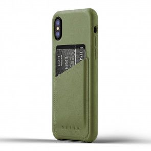 Mujjo Leather Wallet Case iPhone X / XS Olive