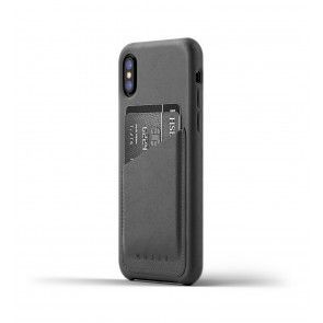 Mujjo Leather Wallet Case iPhone X Gray Achterkant