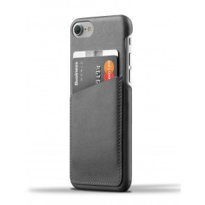 Mujjo Leather Wallet Case iPhone 7 Gray Achterkant