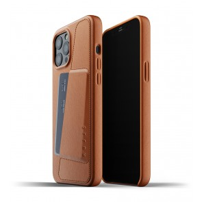 Mujjo Leren Wallet Case iPhone 12 Pro Max Hoesje Tan