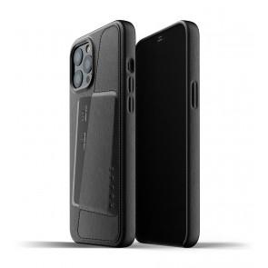 Mujjo Leren Wallet Case iPhone 12 Pro Max Hoesje Zwart