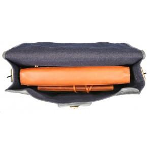 Rat Pack by Orange Fire Leren Aktetas 15.6 inch Rat Pack 1-Vaks OF 557/15 Blauw Binnenkant