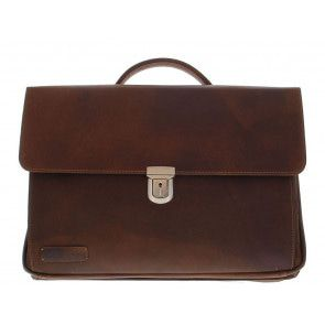 Plevier Business Laptoptas 36 Donkerbruin 17.3 inch Voorkant