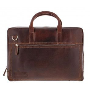 Plevier Business Laptoptas 38 Donkerbruin 17 inch Voorkant
