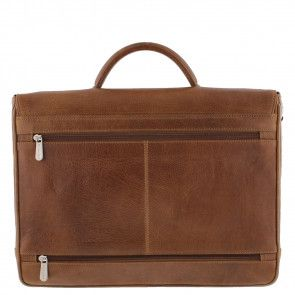 Plevier Aktetas/Laptoptas Crunch Leather 476-3 Cognac 15 inch Achterkant