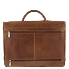 Plevier Aktetas/Laptoptas Crunch Leather 476-3 Cognac 15 inch Achterkant