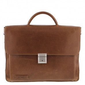 Plevier Aktetas/Laptoptas Crunch Leather 476-3 Cognac 15 inch Voorkant
