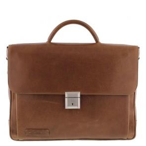 Plevier Aktetas/Laptoptas Crunch Leather 476-3 Cognac 15 inch Voorkant