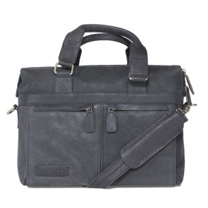 Plevier Crunch Leather Business Laptoptas Black 14 inch Voorkant met schouderriem