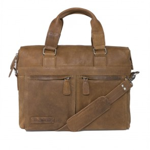 Plevier Crunch Leather Business Laptoptas Cognac 14 inch Voorkant