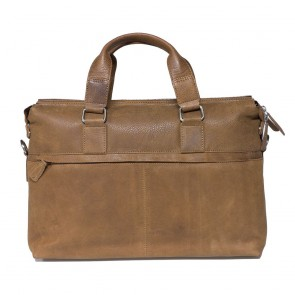 Plevier Crunch Leather Business Laptoptas Cognac 15.6 inch Achterkant