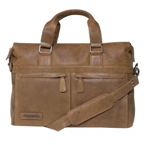 Plevier Crunch Leather Business Laptoptas Cognac 15.6 inch Voorkant