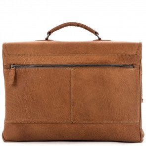 Plevier Heren Leren Aktetas Laptoptas 15.6 inch Rock Quartz Cognac Achterkant