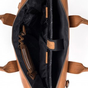 Plevier Heren Leren Laptoptas 15.6 inch Rock Basalt Cognac Open