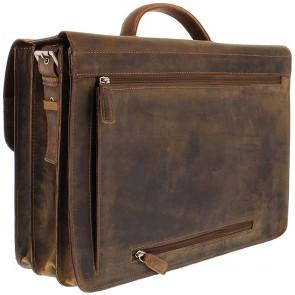 Plevier Antiek Leren Business Laptoptas 3-Vaks Bruin 17 inch Achterkant