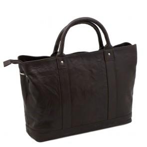 Plevier Leather Dames Business Laptoptas Donkerbruin 15.6 inch Achterkant