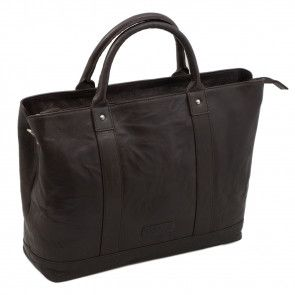 Plevier Leather Dames Business Laptoptas Donkerbruin 15.6 inch Voorkant
