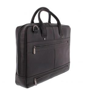 Plevier Leren Business Laptoptas Omega Zwart 17.3 inch Achterkant