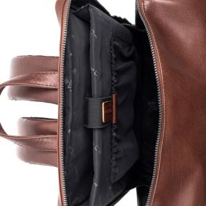 Plevier Leren Laptop Rugtas 15.6 inch Rock Slate Bruin Binnenkant