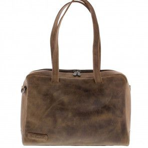 Plevier Crunch Leather Dames Business Laptoptas Cognac 14 inch Voorkant