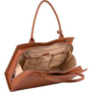 SOCHA Dames Laptoptas 15.6 inch Straight Line Cognac Open