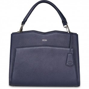 SOCHA Leren Dames Laptoptas 14 inch Diamond Edition Shoulder Navy Voorkant