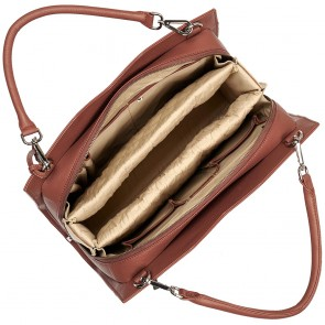 SOCHA Leren Dames Laptoptas 14 inch Diamond Edition Shoulder Cognac Open