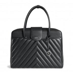 SOCHA Dames Laptoptas Soft Quilted Zwart 15.6 inch Voorkant