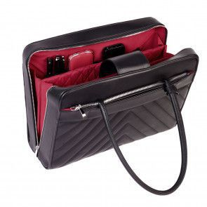 SOCHA Dames Laptoptas Soft Quilted Zwart 15.6 inch Open