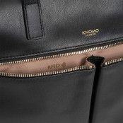 Knomo Audley Slim Leather Shoulder Tote Black 14 inch RFID vakje